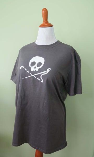 Image of PREORDER - Grey Sewing Skull Shirt - Crew or V Neck! - Shipping May 31