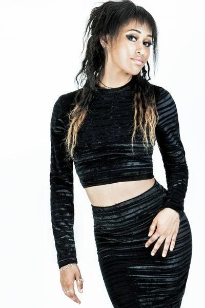 Image of Velvet Midi Skirt