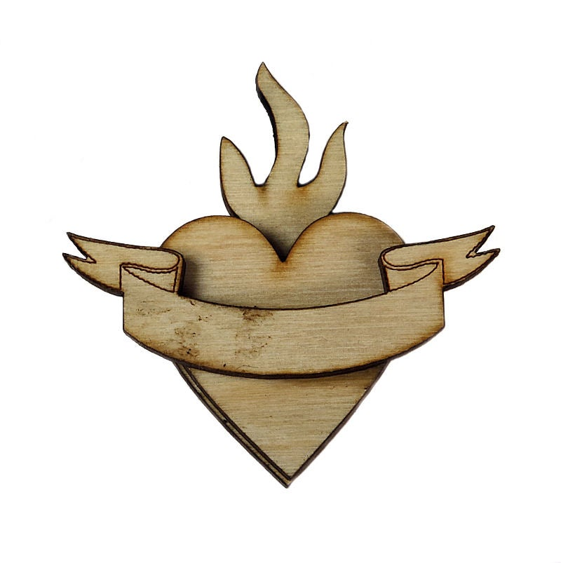 Image of Wooden Icons- Banner Heart -3 Layers