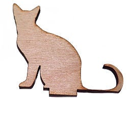 Image of Wooden Icon- Sitting Cat