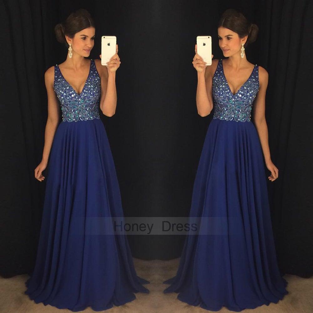 Image of Royal Blue Chiffon V Neck Beaded Bodice Crystal Long Prom Dress With Low Back