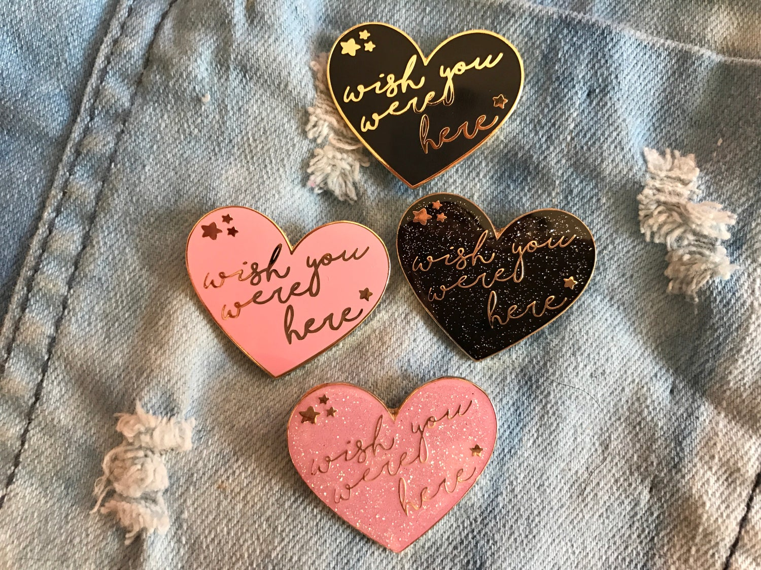 "Image of ""Wish You Were Here"" Heart Enamel Pin"