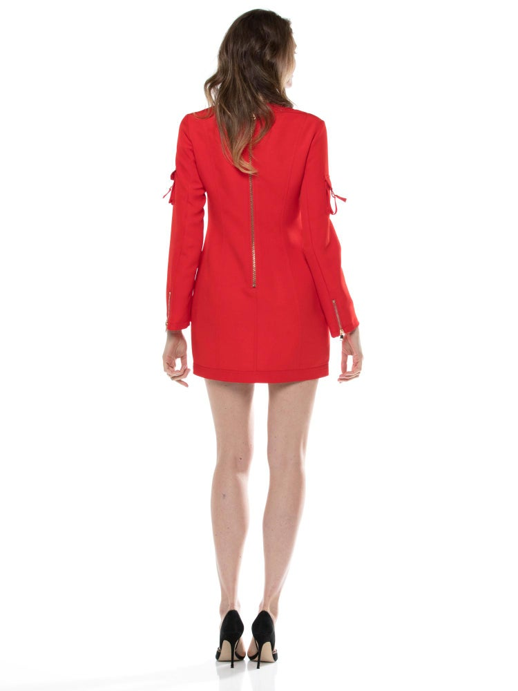 Image of Red Lace Up and Pocket Detail Mini Dress