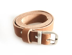 Image of Vegtan Leather Belt Vintage Style Buckle, Womens Fashion Leather Belt, Silver Tone Buckle Belt, Chro