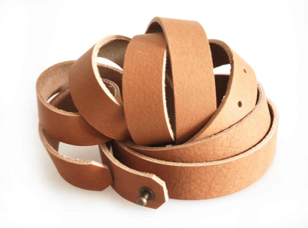 Image of Womens Fashion Belt with Silver Tone Stud, Full Grain Leather Belt, Vegtan Leather