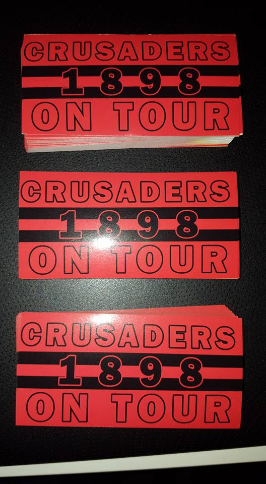 Image of Crusaders On Tour 1898 10x5cm 25 pack of Football Stickers Brand New.