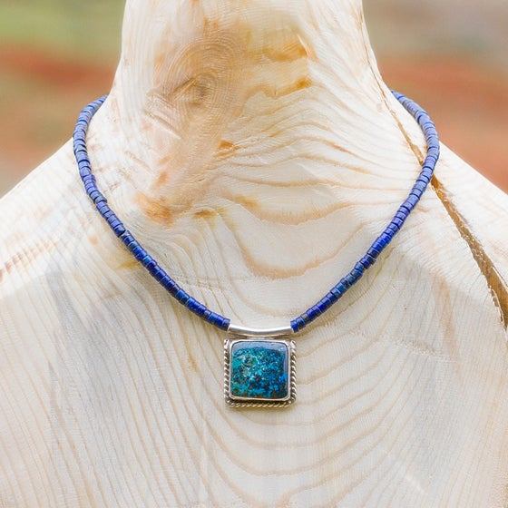 Image of Endless Galaxies: Chrysocolla Malachite & Lapis Necklace