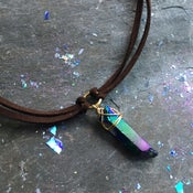 Image of Athena Choker - Rainbow Quartz Crystal + Vegan friendly Faux Suede BACK SOON