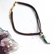 Image of Athena Choker - Rainbow Quartz Crystal + Vegan friendly Faux Suede BACK IN STOCK