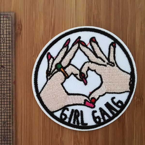 Image of Round Girl Gang Iron on Patch