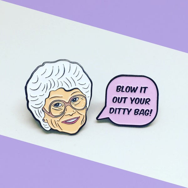 Image of NEW: Sophia and Speech Bubble Quote, Golden Girls, Enamel Pin