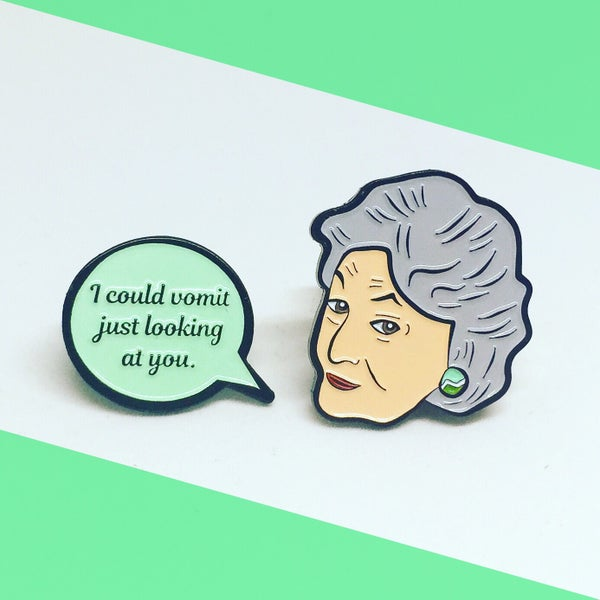 Image of NEW: Dorothy and Speech Bubble Quote, Golden Girls, Enamel Pin