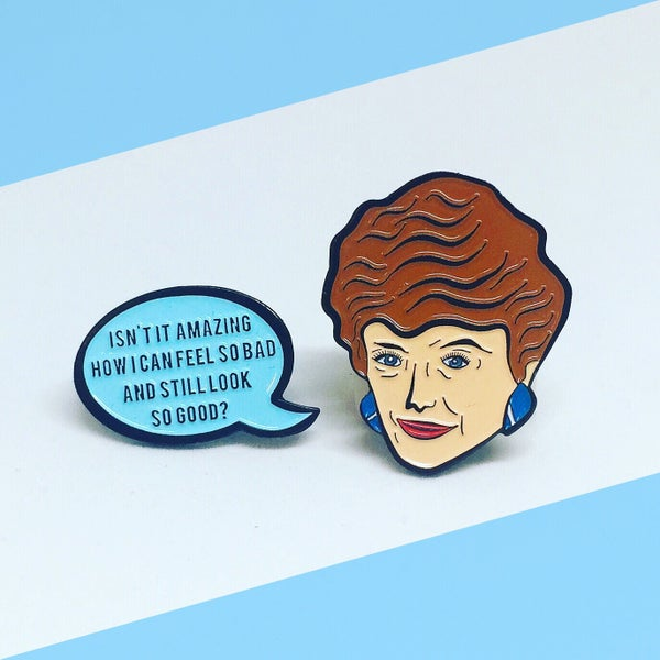Image of NEW: Blanche and Speech Bubble Quote, Golden Girls, Enamel Pin