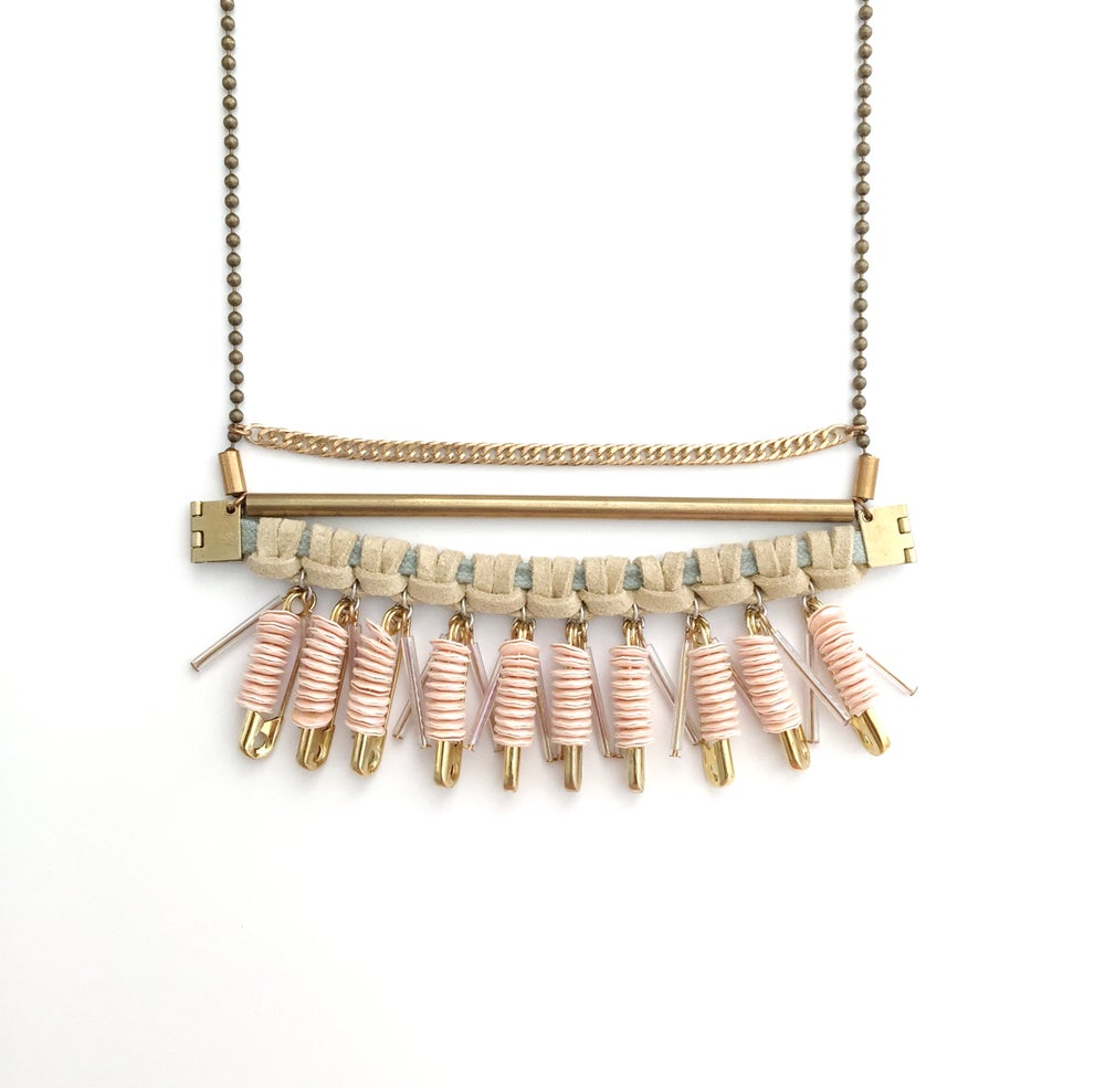 Image of macrame sequin collage necklace