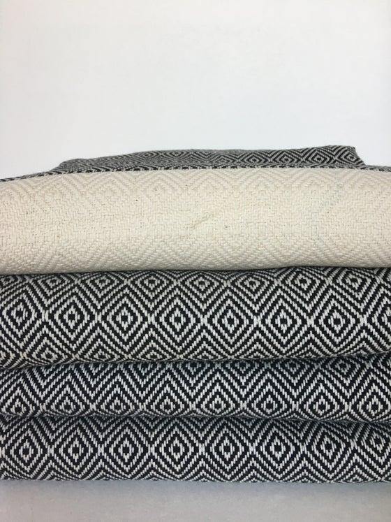 Image of Turkish Cotton Throw | Black Diamond Pattern