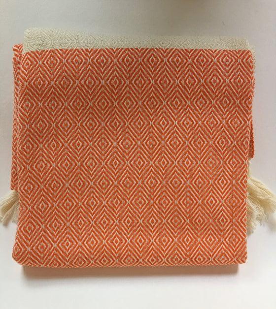 Image of Turkish Cotton Throw | Orange Diamond Pattern