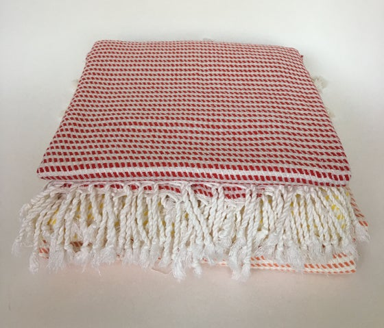 Image of Turkish Cotton/Bamboo Throw | Red/White
