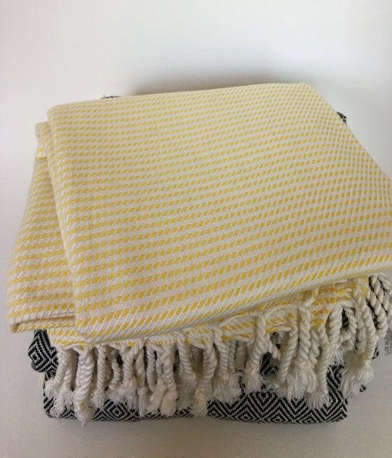 Image of Turkish Cotton/Bamboo Throw | Yellow/White