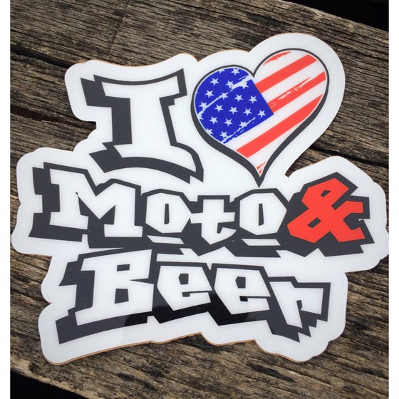 Image of USA I Heart Moto & Beer Decal