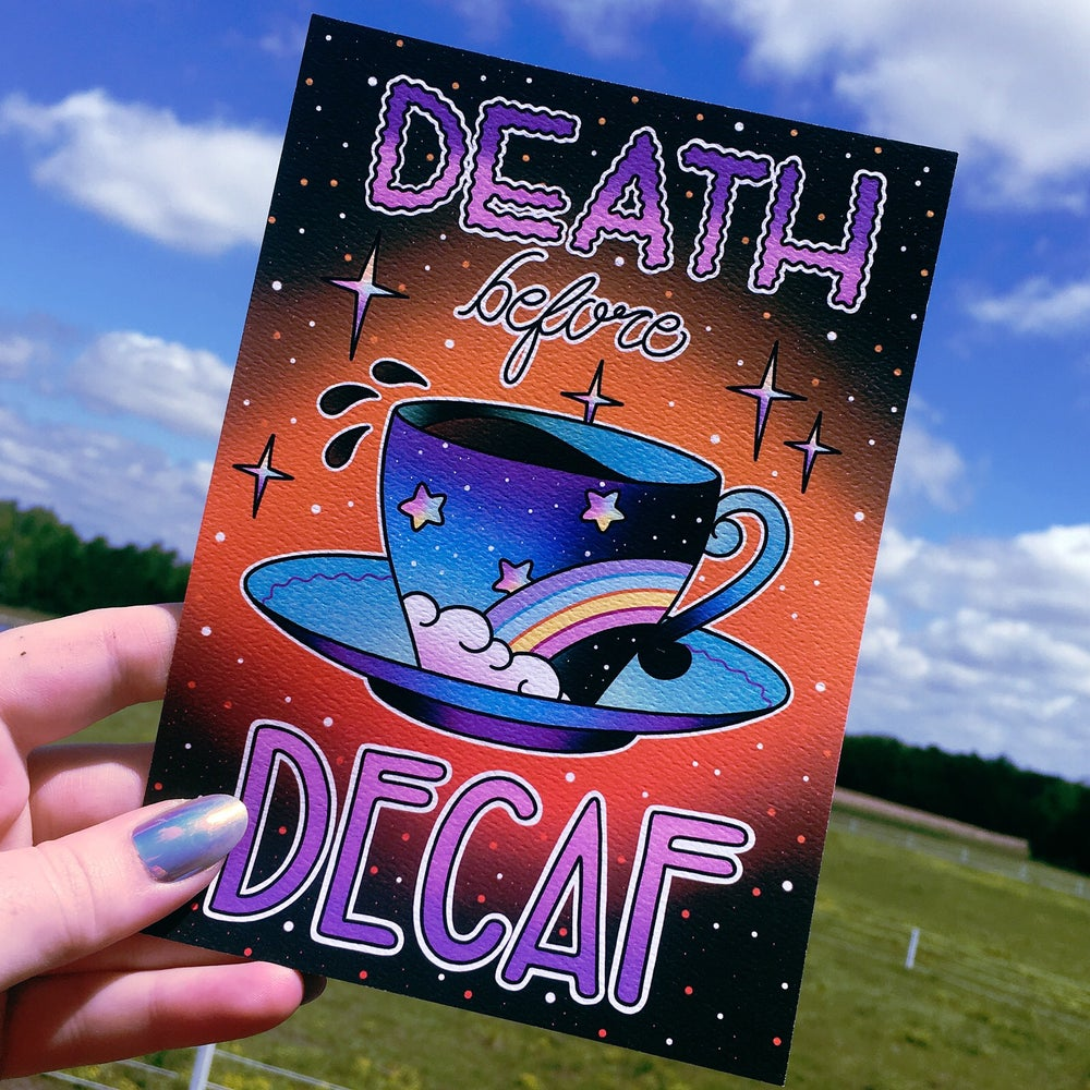 Image of 'Death Before Decaf' - Limited Edition Mini Print