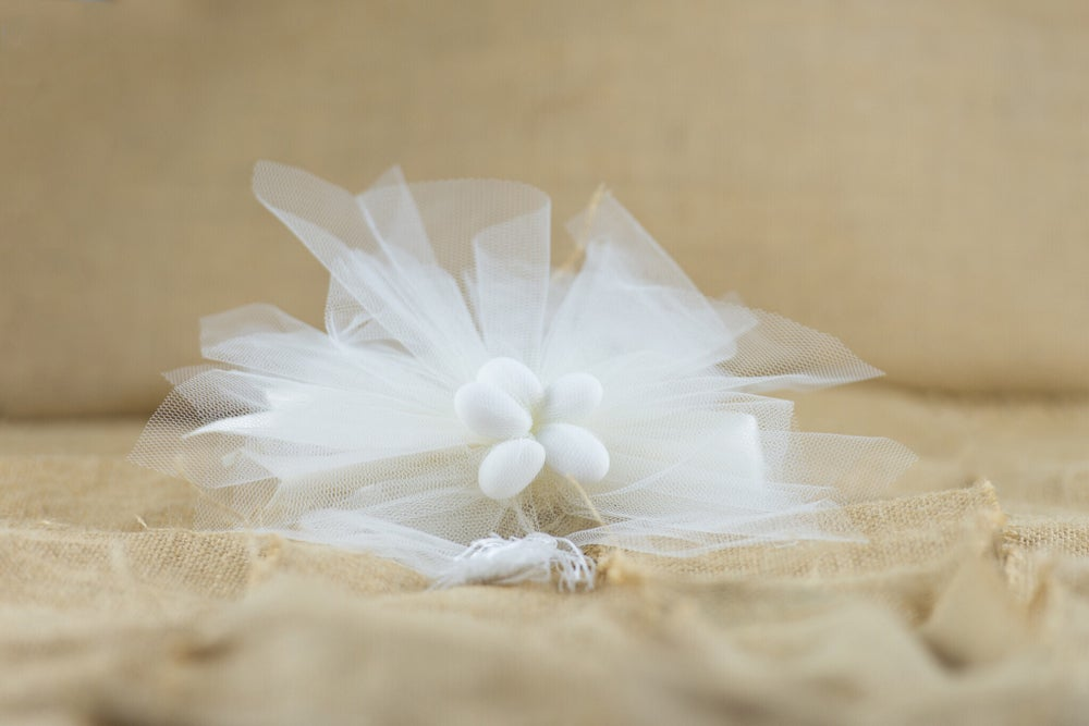 Image of Tulle with lace flower and tassel - bomboniere/wedding favours
