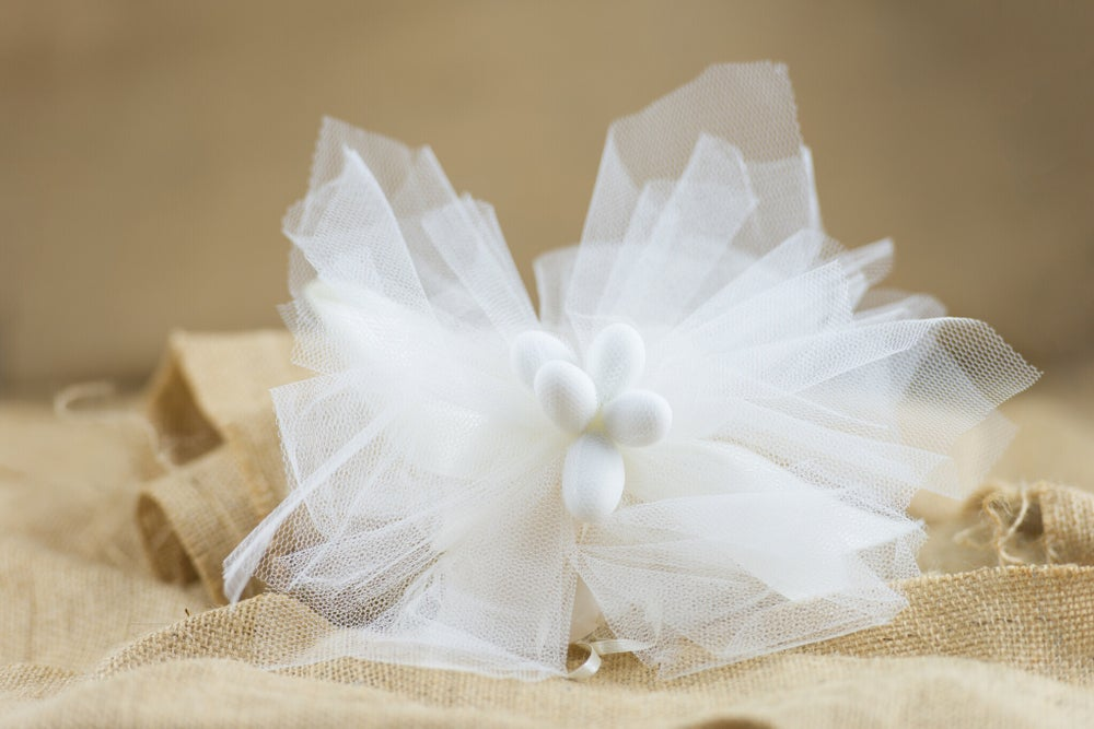 Image of Large tulle with lace flower and pearl - bomboniere/wedding favours