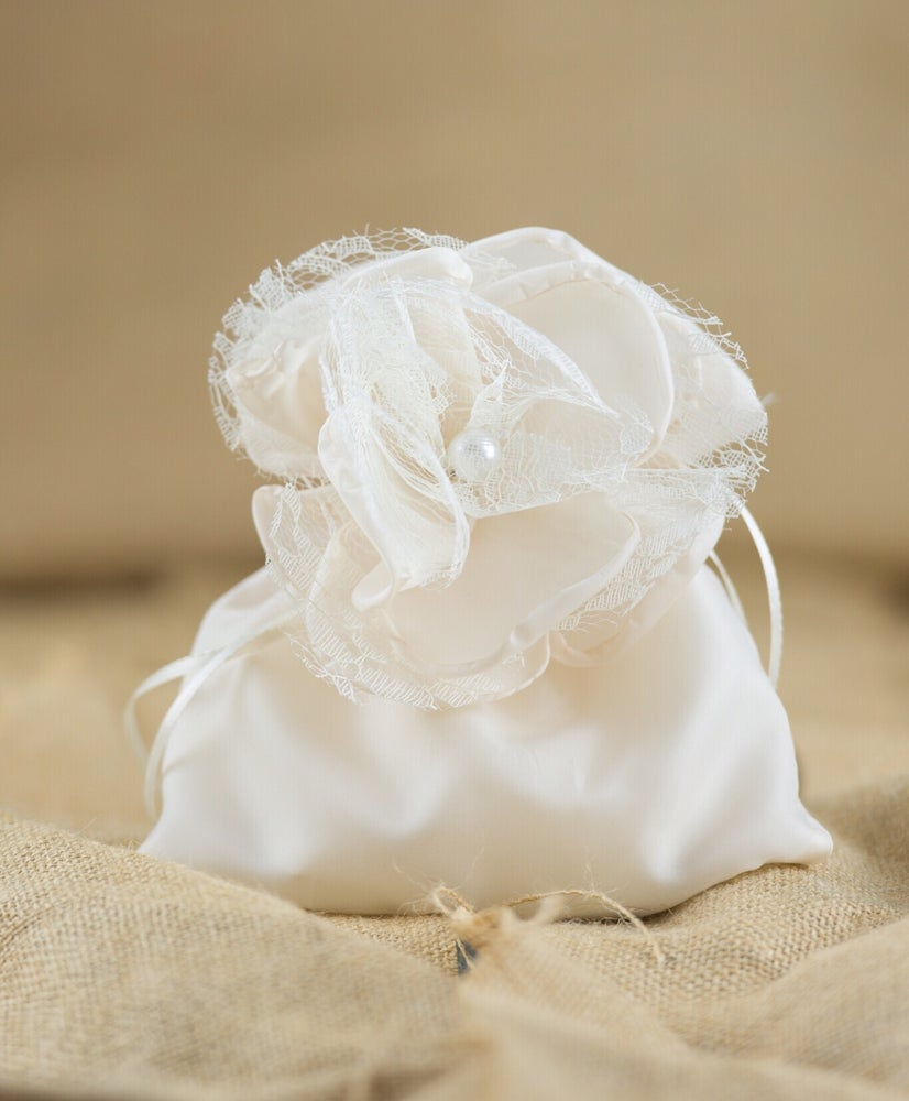 Image of Lace flower and pearl pouch - bomboniere/wedding favours