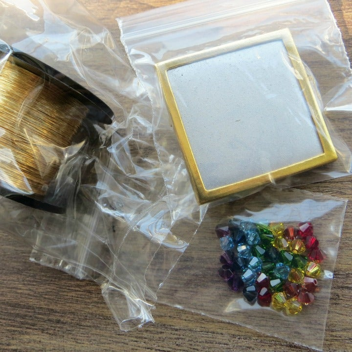 Image of Crystal Wire Brooch knitting kit - Diagonal Rainbow