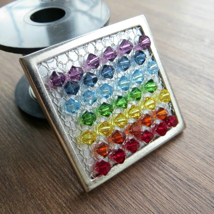 Image of Crystal Wire Brooch knitting kit - Linear Rainbow