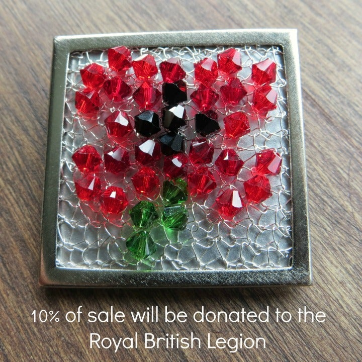 Image of Crystal Wire Brooch knitting kit - Silver Poppy