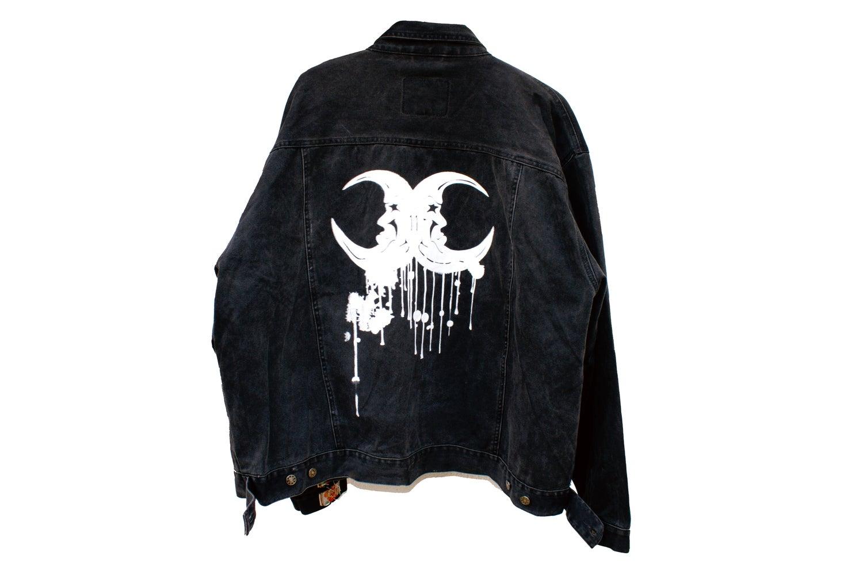 "Image of ""Moonaille"" black denim trucker jacket"