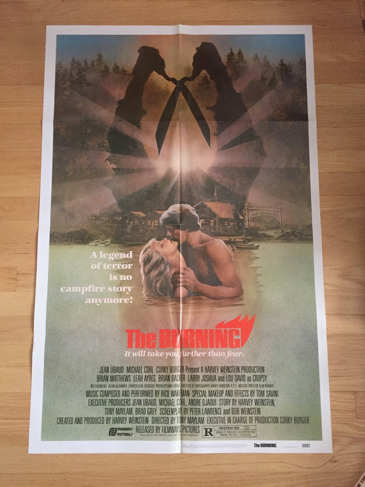 Image of 1981 THE BURNING Original U.S. One Sheet Movie Poster