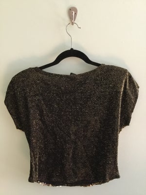 Image of black with gold sequins crop top