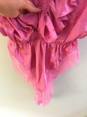 Image of pink lace deep V lingerie onesie