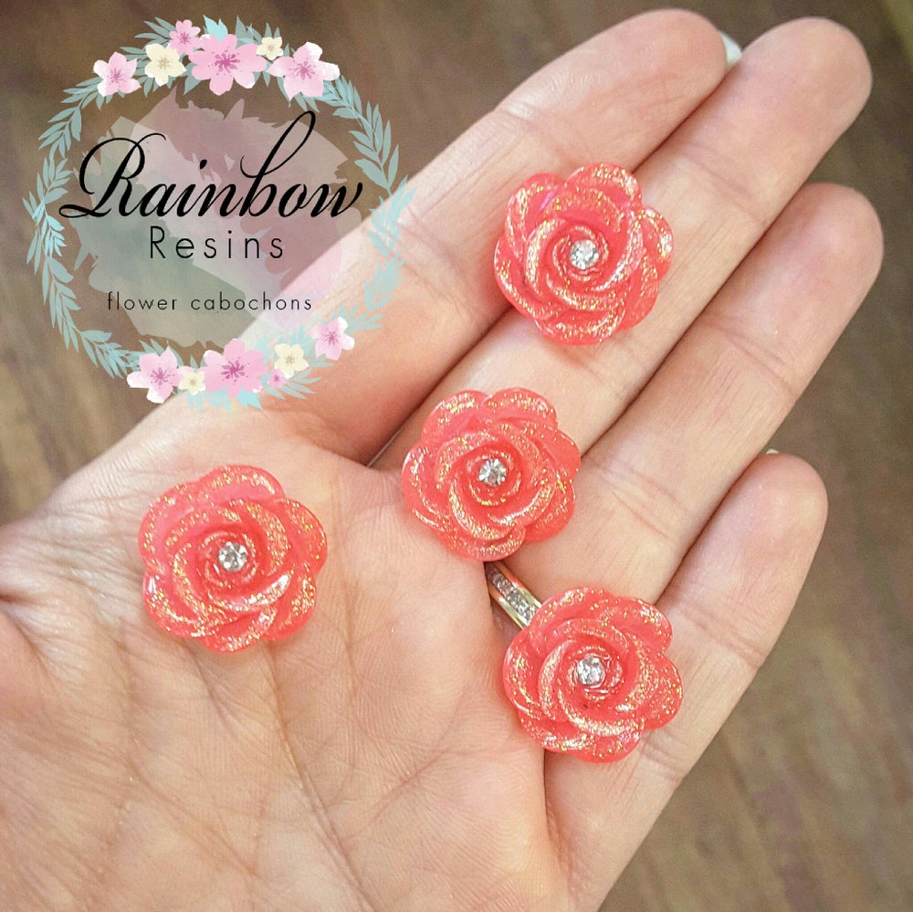 Image of Dusky pink sparkly diamante roses x 10