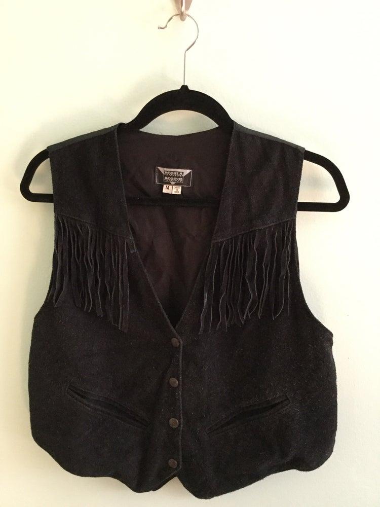 Image of black leather fringed vest