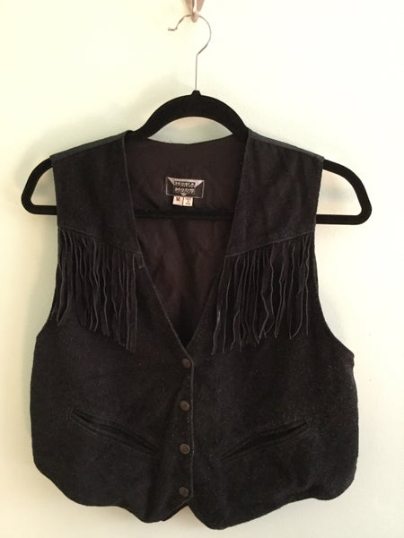 Image of black leather fringed vest