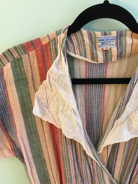 Image of 1970's pastel striped dress