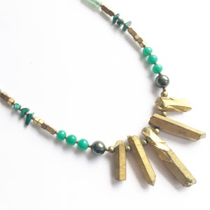 Image of Viridi Necklace - with Quartz, Hematite, Malachite and Jade