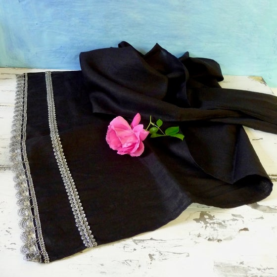 Image of Black Linen Shall/ Table Runner