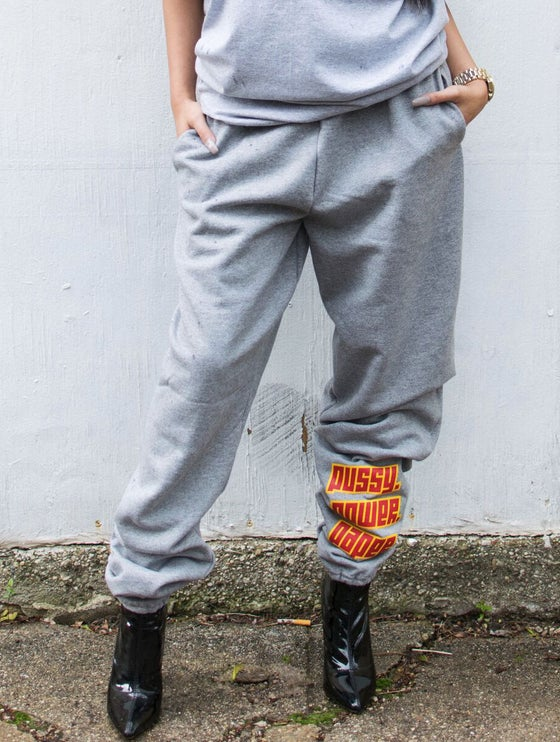 "Image of ""PU$$Y. POWER. PAPER."" Heather Grey Sweat Pants"