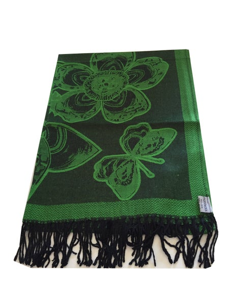 Image of Green and Black Floral Pattern High Quality Pashmina (SVN33)