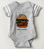 Image of Well Done Burger Onesie Gray