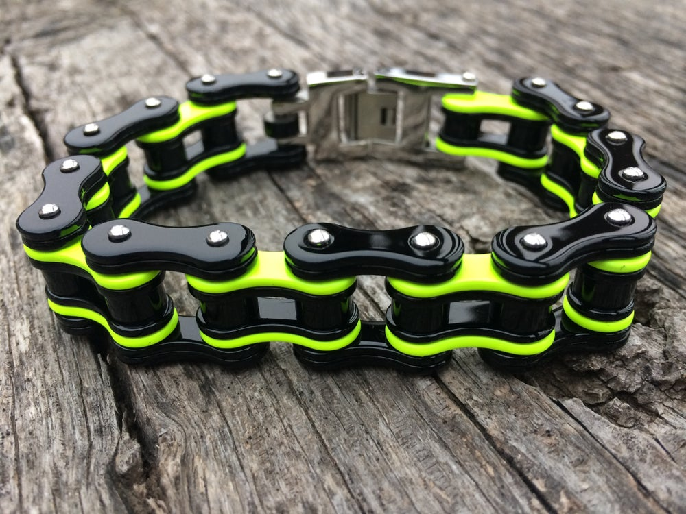 Image of PRE ORDER SHIPS THE FIRST WEEK OF JANUARY  Neon Yellow Stainless Steel Chain Bracelet