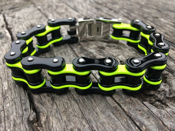 Image of PRE ORDER SHIPS THE 3RD WEEK OF NOVEMBER. Black and Neon Yellow Stainless Steel Chain Bracelet