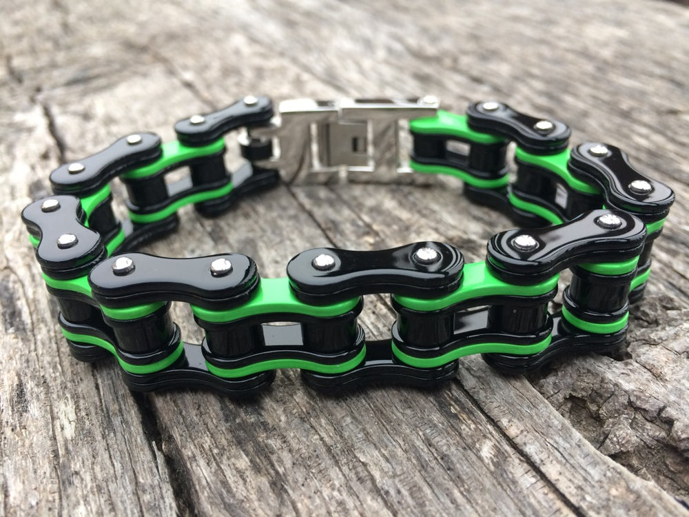 Image of Black and Neon Green Stainless Steel Chain Bracelet