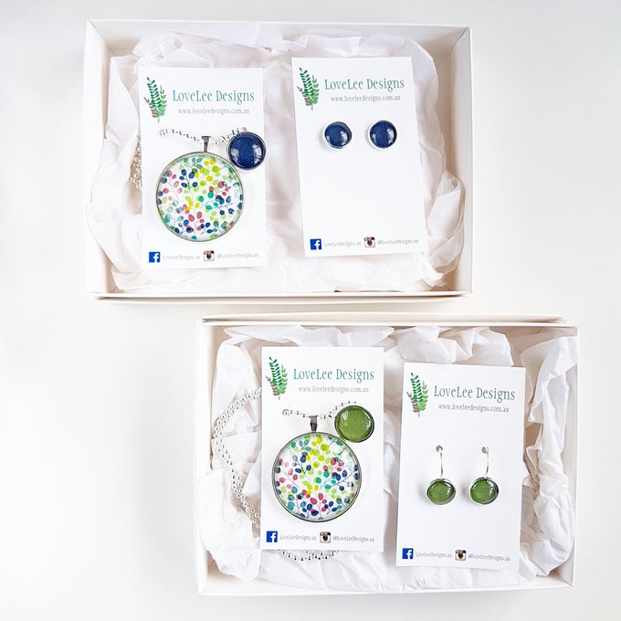Image of NEW! Gift Set - Navy/green blooms