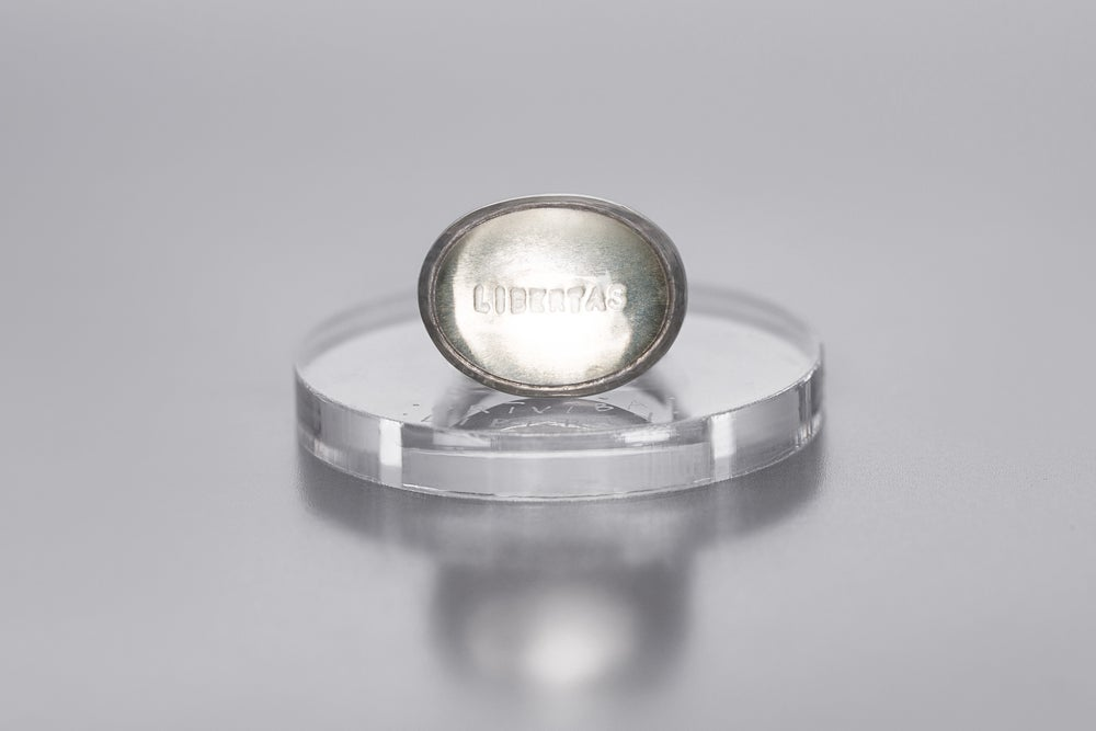 Image of silver ring with rock crystal LIBERTAS