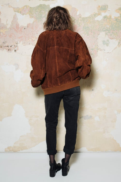 Image of Suede Leather Bomber