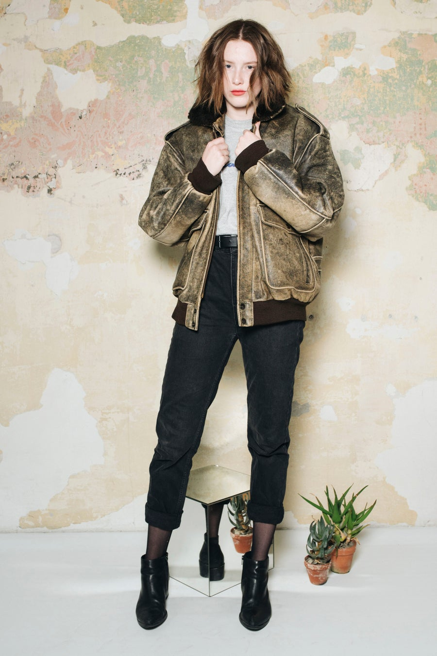 Image of Aviator Leather Bomber